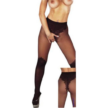 Open Crotch Tights Black S/M