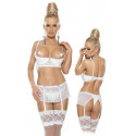 Open Cups Bra, Suspenderbelt and String L/White
